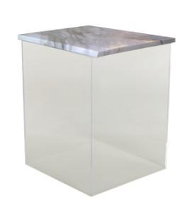 Dixie Stark Collection Acrylic End Table with Calcutta Marble Top