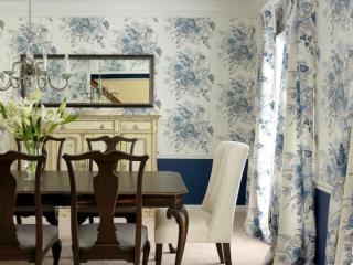 Blue pattern dining room