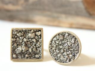 pyrite jewelry round square