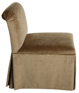 "Armless ""Slipper"" Chair With Skirt and Trim – COM"