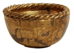 Benjamin Burts Bowl – Gold with Rope