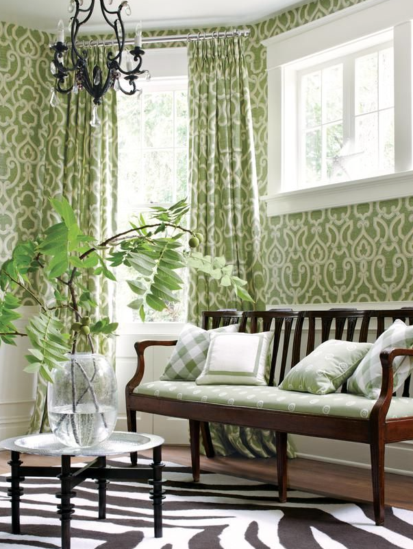 Green patterened sunroom